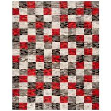 studio leather gray red 8 ft x 10 ft area rug