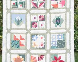 Hand quilted quilt | Etsy & Flower Garden Sampler - Hand Quilted Quilt Adamdwight.com