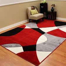 abstract wave design red black white area rug and rugs