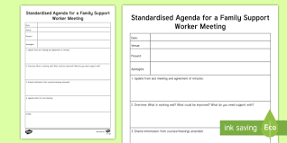 Standard Agenda Standard Agenda For A Family Support Worker Meeting Planning Template