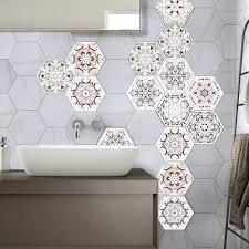 3d tile sticker geometric hexagonal removable waterproof non slip self adhesive wall stciker for kitchen bathroom tiles children wall stickers childrens