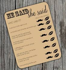Kitchen Tea Games He Said She Said Bridal Shower Activity Game On By Beauchicprints