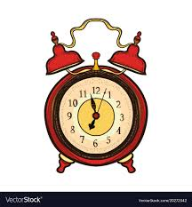 hand drawn old alarm clock wake up time vector image