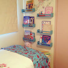 Small Kids Bedroom Beautiful Wall Mounted Bookshelves For Kids On Bed As Decorate