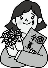 涙を流す女の子が卒業アルバムを抱えるモノクロ白黒イラスト無料フリー