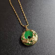 genuine green jade pendant plated with