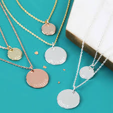 personalised layered double chain disc charm necklace