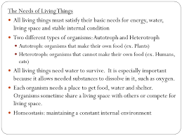 "Homework: 1) ""Living vs NON-living worksheet 2) Needs of living ..."
