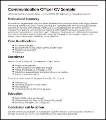 cv sample communication officer cv sample myperfectcv