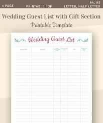 Printable Wedding Guest List Organizer Wedding Guest List Printable Wedding Template Guest List Tracker Guest List Planner Gift Tracker A4 A5 Letter Half Letter Pdf