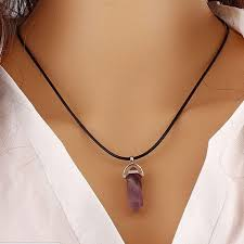 new womens bullet shape healing point pendant necklace rope jewellery gold gift