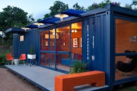 guest house/garden retreat/playhouse made from a repurposed steel shipping  container by Jim Poteet of Poteet Architects in San Antonio, Texas.