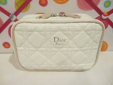 dior cosmetic bag um sized white with rose gold trim