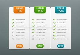 Price Plans. Comparison Infographic Tab With 3 Columns. Web Table ...