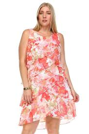 Slny Layered Flora Plus Size Dress Plus Size Dress