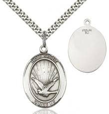 oval holy spirit guide us pendant sterling silver
