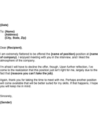 Job Rejection Letter Template