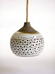 unique pendant lighting. Fascinating Unique Hanging Lights Design Ideas For Your Home Interior : Exotic White Ceramic With Holes Pendant Lighting I