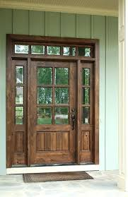 wooden front door with glass panels 6 8 single knotty alder door w sidelights and transom wooden front door with glass