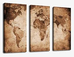 canvas wall art vintage world map painting ready to hang 3 pieces large framed old on world map wall art canvas with amazon canvas wall art vintage world map painting ready to hang