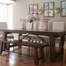 Vintage Dining Room with Rectangular Shape Pottery Barn Dining Table,  Benchwright Dining Bench, and