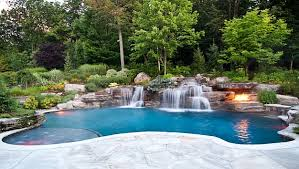 Backyard Pools Designs Mesmerizing Outdoors Backyard Natural Pool With Small Pool Waterfall And Round