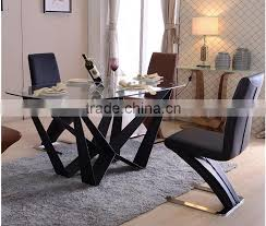 new fashion italian modern furniture private custom made wood glass top metal dining table fashion