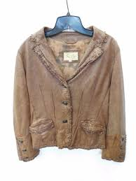 scully brown leather jacket w stud cross on back