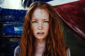 Redheaded women models freckles