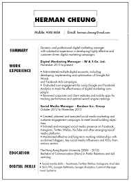 Marketing Experience Resume Cv Resume Sample For Digital Marketing Manager Jobsdb Hong Kong