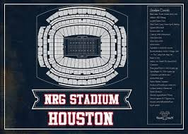 Reliant Stadium Soccer Seating Chart Houston Texans Nrg Stadium Seating Chart Vintage Football Print