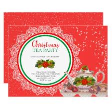 Christmas Tea Party Invitations Christmas Holiday Tea Party Invitations