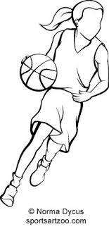 Basketball Drawing Pictures Girl Basketball Player Dribbling Ouline By Sportsartzoo Stock