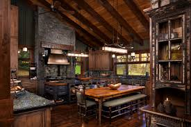 rustic interior lighting. This Rustic Kitchen Has Decorative Lighting Units All Around The Room That Blend With Wood Flooring, Distressed Beams And Cabinetry, Interior I
