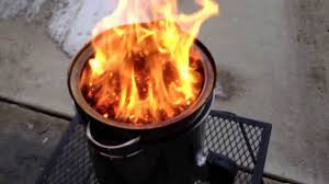 2 diy gasifier forge 24 with wood pellets big fire boil snow in about 2 you