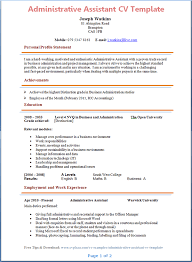 administrative assistant cv template   tips and download   cv plazaadministrative assistant cv template page  preview