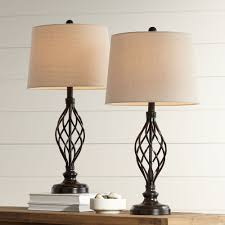 Franklin Iron Works Traditional Table Lamps Set Of 2 Bronze Iron