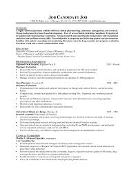 Resume Format For Pharmacist Free Download Example Of Pharmacist