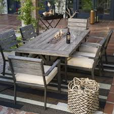 fire pit dining table. Agreeable Dining Room Furniture Distressed Finish Fire Pit Table Set Slab Medium Yellow Wood Faux Stone