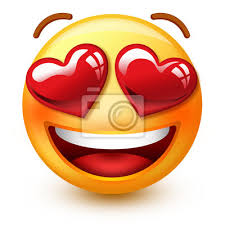 """Plakat Cute """"In Love"""" -Face emotikon lub 3D buźkę emotikony z sercem na  wymiar • czerwony, strona, ludzie • REDRO.pl"""