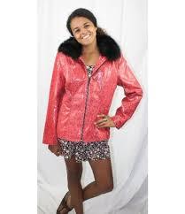 sd0536 57214f new red black dot lamb leather fox fur trim jacket coat stroller l 1 jpg