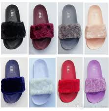 leadcat fenty rihanna faux fur slippers women girls sandals fashion scuffs black pink red grey blue slides high quality with box grey boots boots shoes from