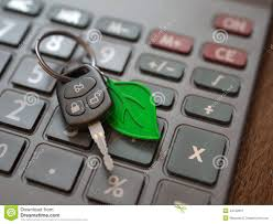 Hybrid Or Electric Car Expenses Calculation Stock Image