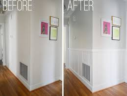 board and batten. side by comparison of a hallway that was updated with easy and affordable diy board batten o