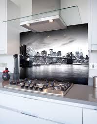 Splashback White Kitchen Manhattan Bridge Black And White Printed Glass Hob Splashback