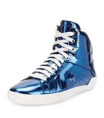 new bally eticon metallic blue leather high top sneakers size 7eu 8us