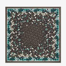 Green silk foulard - FF <b>FLOWER PATTERN</b> FOULARD | Fendi