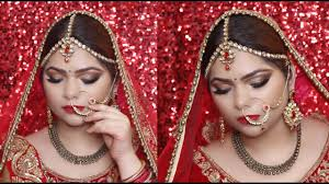 indian bridal makeup tutorial gold cutcrease with red lips step by step in hindi glam