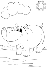 Small Picture Cute Cartoon Hippo coloring page Free Printable Coloring Pages