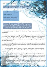 Sample Press Release For Event Is To Learn More About It